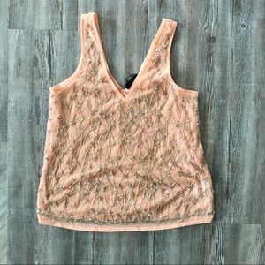 Peach colored embellished tank NWT